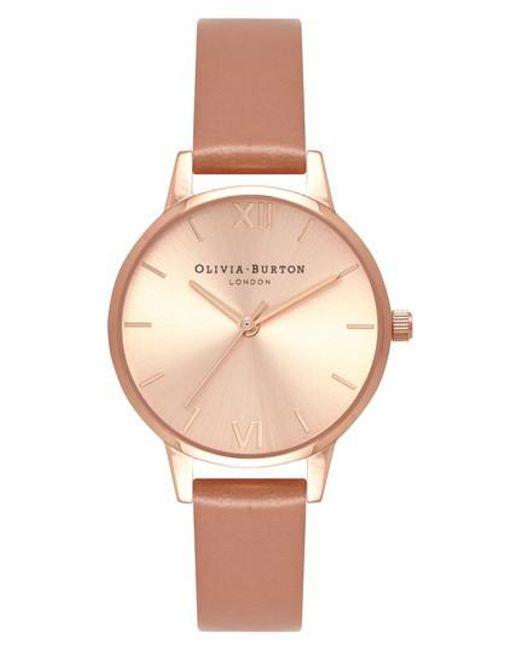 Olivia Burton - Pink Sunray Leather Strap Watch - Lyst