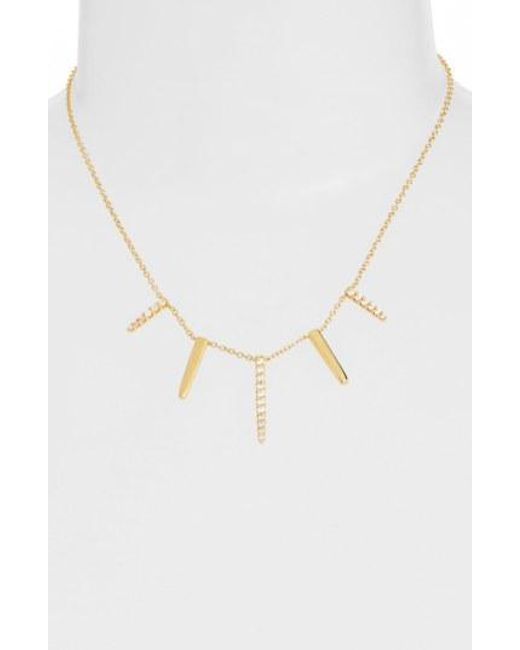 CZ by Kenneth Jay Lane - Metallic Pave Spike Cubic Zirconia Frontal Necklace - Lyst