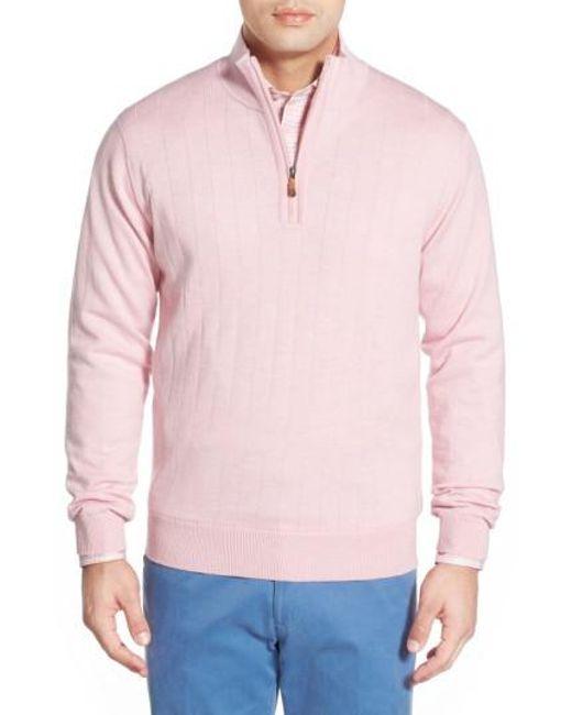 Bobby Jones | Pink Windproof Merino Wool Quarter Zip Sweater for Men | Lyst