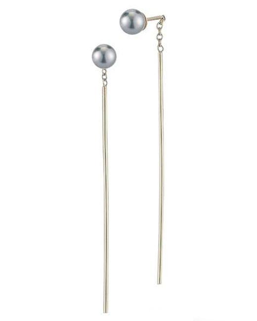 Mizuki | Metallic Pearl Drop Earrings | Lyst