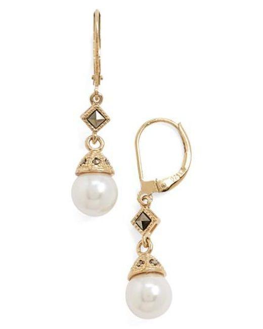Judith Jack   Metallic Imitation Pearl Drop Earrings   Lyst