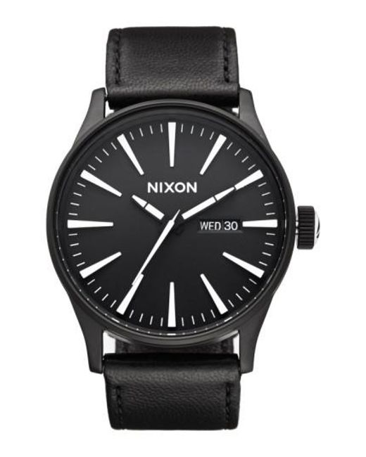 Nixon | Black The Sentry Leather Strap Watch for Men | Lyst