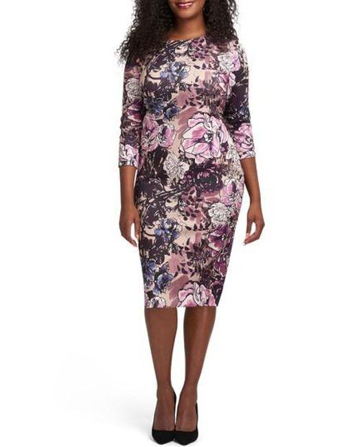 Eci | Pink Floral Print Bateau Neck Sheath Dress | Lyst