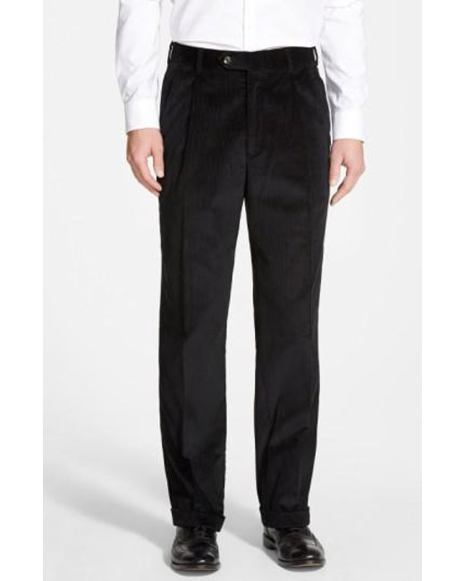 Berle - Black Pleated Corduroy Trousers for Men - Lyst