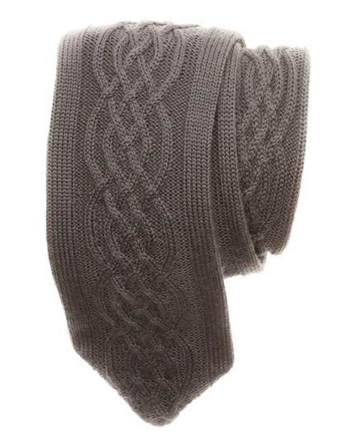 Hook + Albert | Gray Cable Knit Wool Tie for Men | Lyst