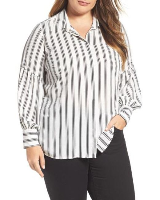 Vince Camuto   White Stripe Puff Sleeve Blouse   Lyst