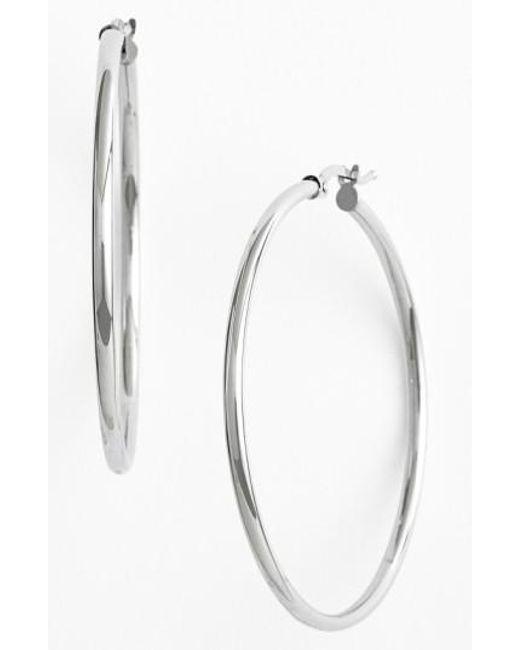 Bony Levy | White 14k Gold Hoop Earrings (nordstrom Exclusive) | Lyst