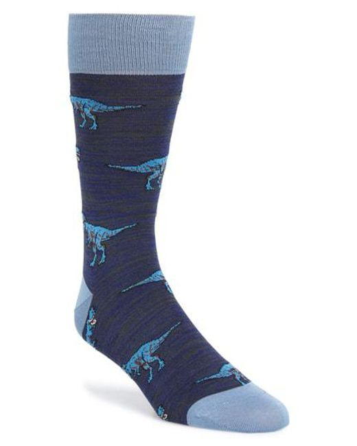 Bugatchi - Blue Dinosaur Socks for Men - Lyst