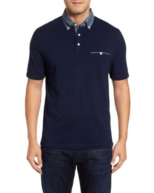 Thomas Dean | Blue Denim Trim Jersey Polo for Men | Lyst