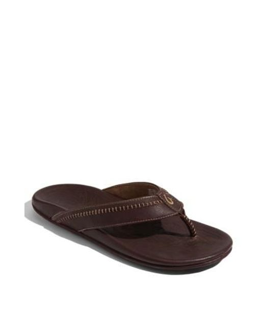 Olukai | Brown 'hiapo' Flip Flop for Men | Lyst