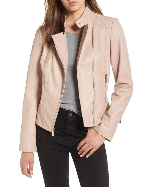MICHAEL Michael Kors - Black Asymmetrical Zip Leather Moto Jacket - Lyst