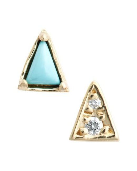 Mociun | Yellow Mismatch Triangle Turquoise Stud Earrings | Lyst