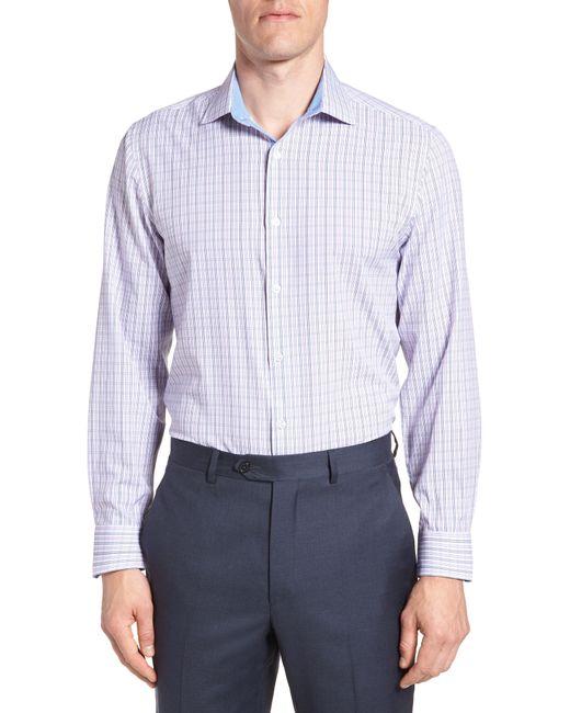 W.r.k. - Blue Trim Fit Check 4-way Stretch Dress Shirt for Men - Lyst