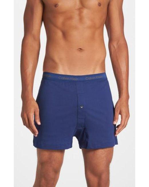 Calvin Klein | 3-pack Cotton Boxers, Blue for Men | Lyst