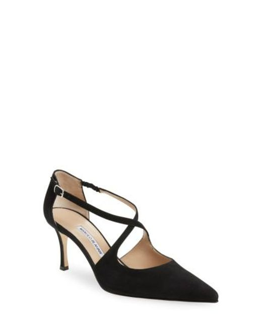 Manolo Blahnik | Black 'umice' Pointy Toe Pump | Lyst