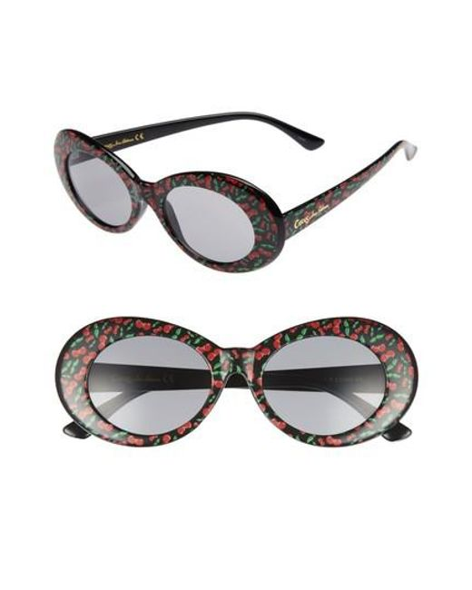 Circus by Sam Edelman - Black 70mm Cherry Print Oval Sunglasses - Lyst