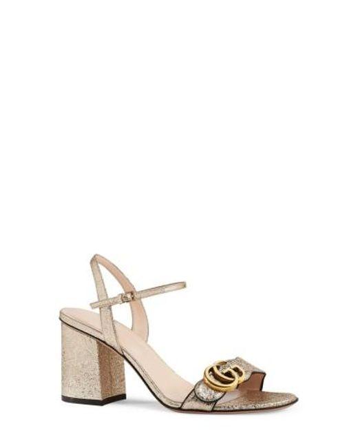 Gucci | Metallic Gg Marmont Sandal | Lyst