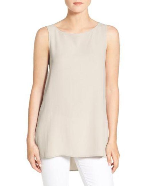 Eileen Fisher | White Long Bateau Neck Silk Shell | Lyst