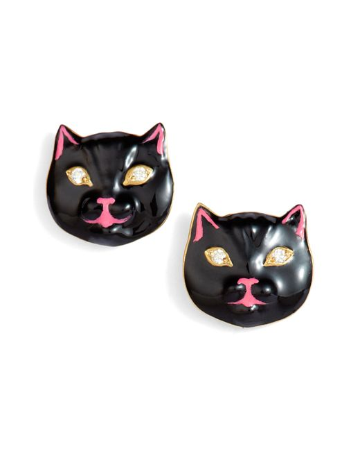 Nora Kogan - Multicolor Diamond Enamel Pussycat Stud Earrings - Lyst