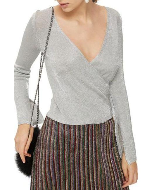 Lyst Topshop Metal Yarn Wrap Knit Top In Gray