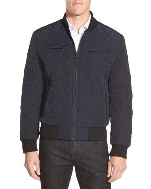 Michael Kors - Blue Diamond Quilted Zip Front Jacket for Men - Lyst