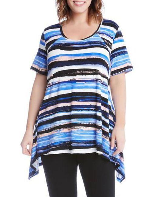 Karen Kane | Blue Painted Stripe Handkerchief Top | Lyst