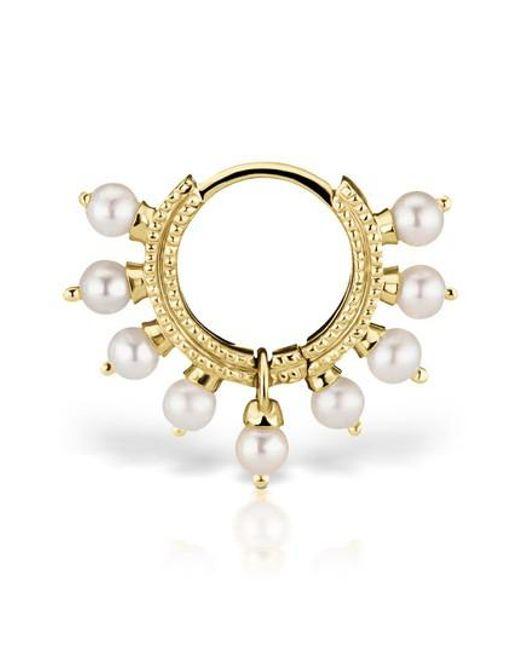 Maria Tash - Metallic 18 Gauge Pearl Coronet Ring - Lyst