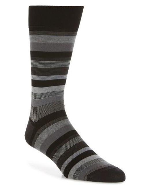 Bugatchi - Black Stripe Crew Socks for Men - Lyst