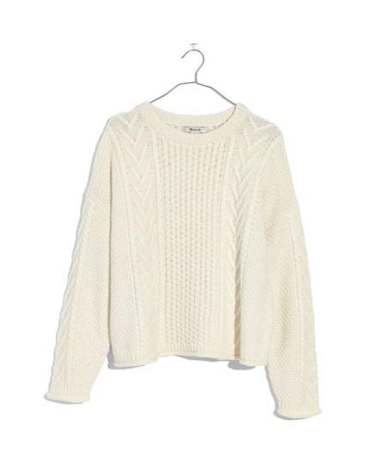 Madewell Cable Knit Pullover Sweater in Natural | Lyst