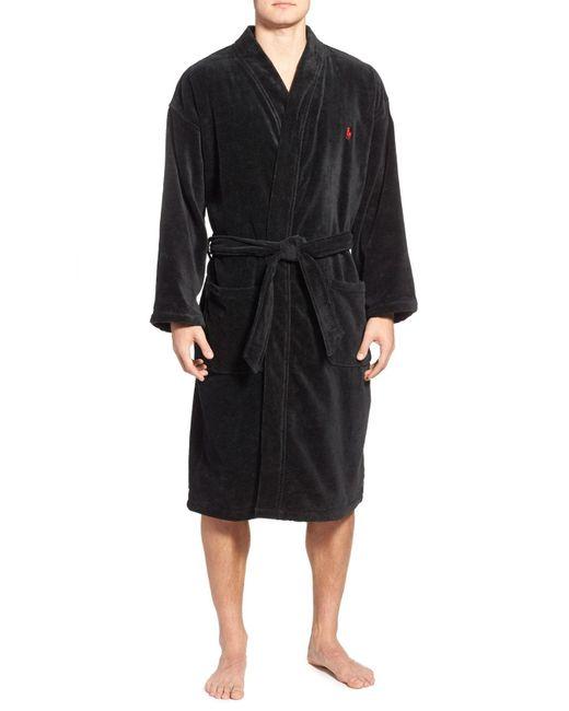 Polo Ralph Lauren - Black Cotton Fleece Robe for Men - Lyst