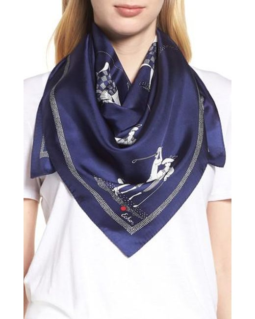 Echo - Blue Golf Day Square Silk Scarf - Lyst