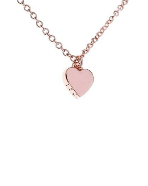 Ted Baker | Pink Mini Heart Pendant Necklace | Lyst