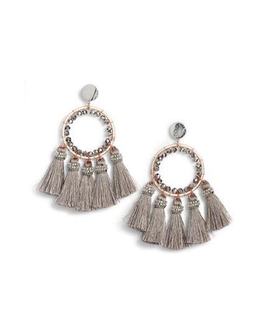 Nakamol | Gray Tassel Hoop Earrings | Lyst