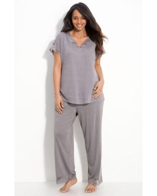 Natori - Gray 'zen Floral' Pajamas - Lyst