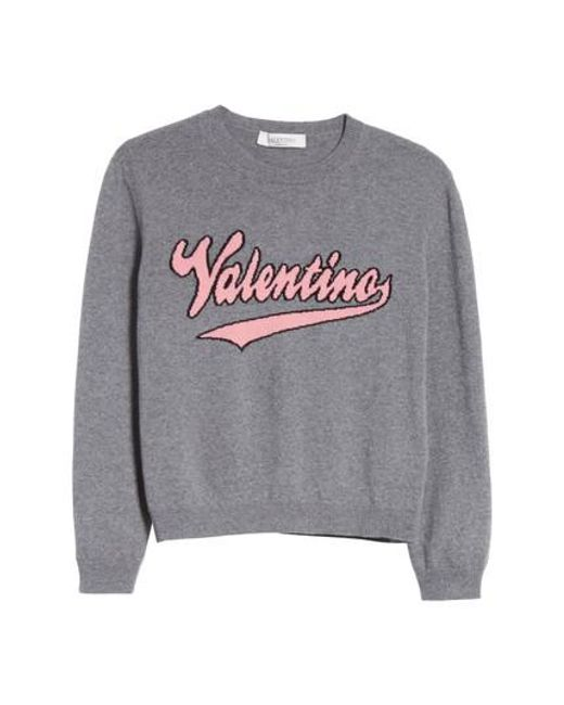 Valentino - Gray Wool & Cashmere Logo Sweater - Lyst