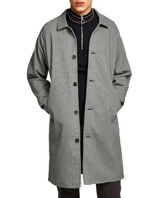 Topman - Gray Longline Check Mac Jacket for Men - Lyst