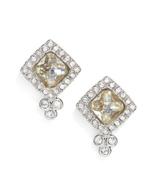 Jenny Packham | Metallic Glistening Shadows Cushion Stud Earrings | Lyst