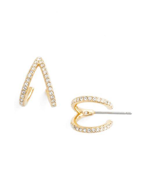 Nadri - Metallic Reverse-v Hoop Earrings - Lyst