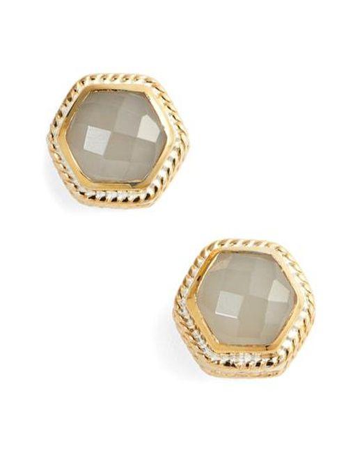 Anna Beck - Metallic Grey Moonstone Hexagon Stud Earrings - Lyst