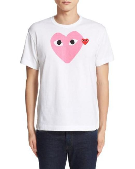 Comme des Garçons | White Heart-Print Logo T-Shirt for Men | Lyst