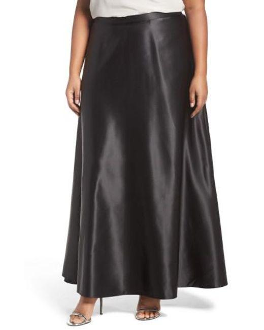Alex Evenings - Black Satin Long Circle Skirt - Lyst