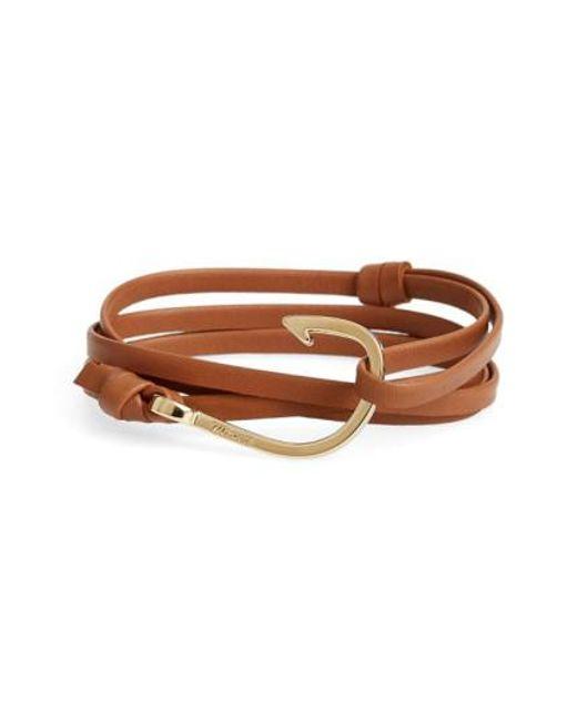 Miansai - Brown Gold Hook Leather Bracelet for Men - Lyst