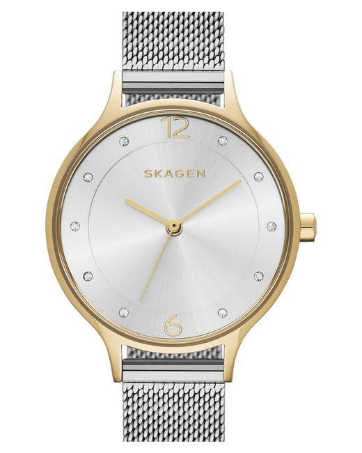 Skagen - Metallic 'anita' Crystal Index Mesh Strap Watch - Lyst