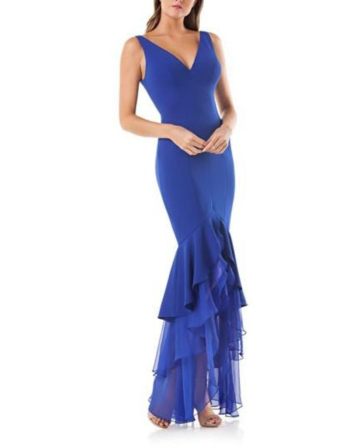 Carmen Marc Valvo - Blue Tiered Mermaid Gown - Lyst