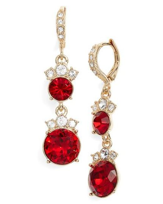 Red Givenchy Chandelier Earrings: Givenchy Crystal Drop Earrings In Red