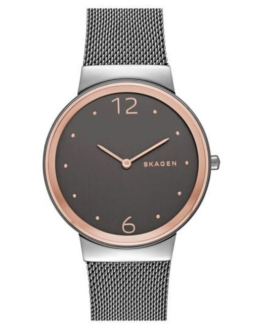 Skagen - Metallic 'freja' Mesh Strap Watch - Lyst