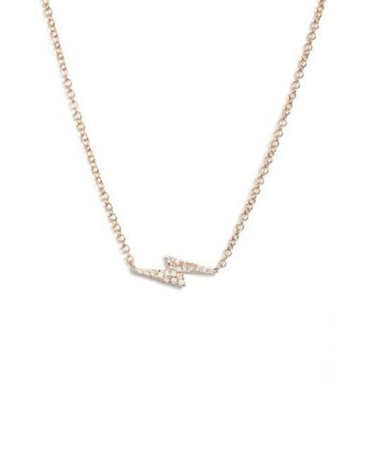 EF Collection | Metallic Diamond Lightning Bolt Pendant Necklace | Lyst