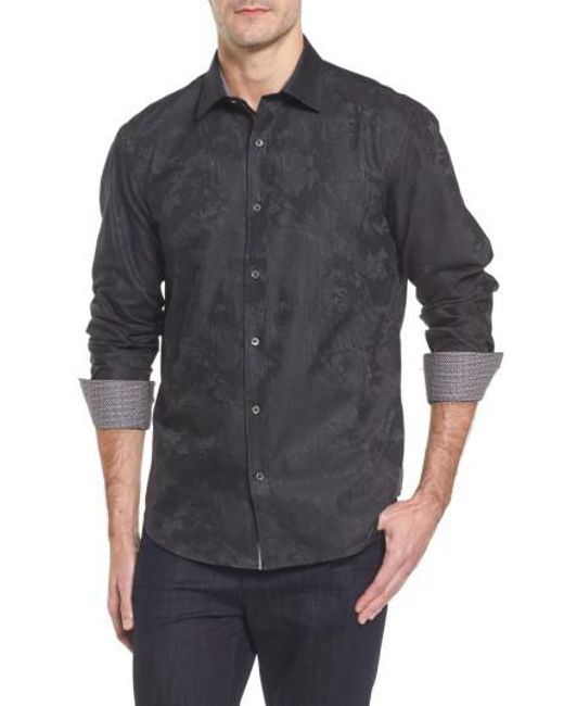 Bugatchi - Black Shaped Fit Print Sport Shirt for Men - Lyst