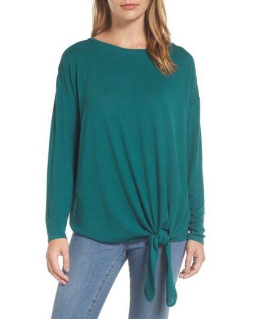 Caslon   Green Caslon Tie Front Sweatshirt   Lyst