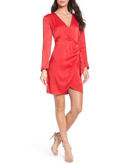 Bardot | Red Satin Wrap Dress | Lyst